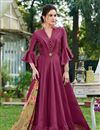 image of Burgundy Color Fancy Fabric Festive Wear Gown With Fancy Work