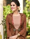 photo of Linen Fabric Designer Function Wear Long Gown In Brown Color