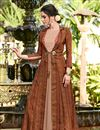 image of Linen Fabric Designer Function Wear Long Gown In Brown Color
