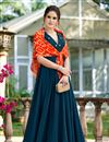 image of Fancy Work On Navy Blue Color Fancy Fabric Party Wear Gown