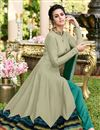 photo of Designer Party Wear Gown In Dark Beige Color Art Silk Fabric