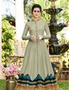 image of Designer Party Wear Gown In Dark Beige Color Art Silk Fabric