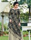 image of Grey Color Jacquard Silk Fabric Party Wear Long Gown