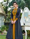 image of Golden Color Fancy Work On Art Silk Fabric Desginer Gown