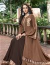 photo of Fancy Work On Brown Color Designer Gown In Fancy Fabric