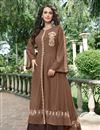image of Fancy Work On Brown Color Designer Gown In Fancy Fabric
