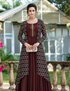 image of Art Silk Fabric Party Wear Gown In Brown Color With Fancy Work