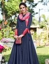 image of Navy Blue Color Fancy Fabric Festive Wear Gown With Fancy Work