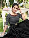 photo of Cotton Satin Fabric Black Color Function Wear Designer Gown