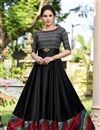 image of Cotton Satin Fabric Black Color Function Wear Designer Gown