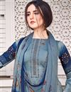 photo of Festive Wear Satin Fabric Blue Color Chic Printed Salwar Kameez