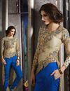image of Beige Color Embroidered Designer Salwar Suit in Art Silk Fabric