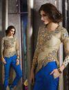 image of Beige Color Festive Wear Embroidered Art Silk Designer Salwar Kameez