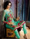 image of Turquoise Color Embroidered Designer Salwar Suit in Georgette Fabric