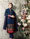 image of Blue Straight Cut Party Wear Georgette Salwar Suit