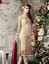 image of Beige Straight Cut Party Wear Georgette Salwar Sui