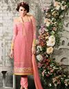 image of Peach Party Wear Designer Georgette Salwar Suit