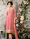 image of Peach Georgette Designer Salwar Suit with Work