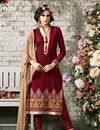 image of Red Party Wear Designer Georgette Salwar Suit