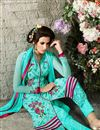 photo of Sky Blue Straight Cut Georgette Salwar Kameez