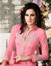 photo of Pink Straight Cut Georgette Salwar Kameez
