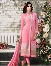 image of Pink Straight Cut Georgette Salwar Kameez