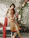 photo of Beige Straight Cut Party Wear Georgette Salwar Sui