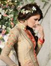 picture of Beige Straight Cut Party Wear Georgette Salwar Sui