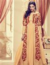 image of Chikoo Color Designer Georgette Anarkali Suit With Marvelous Embroidery Work