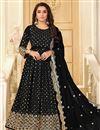 image of Black Color Party Style Embroidered Georgette Fabric Anarkali Salwar Kameez
