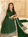 photo of Georgette Fabric Party Style Dark Green Color Embroidered Anarkali Salwar Suit