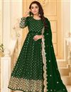 image of Georgette Fabric Party Style Dark Green Color Embroidered Anarkali Salwar Suit