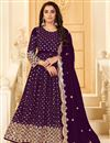 image of Purple Color Georgette Fabric Party Style Embroidered Anarkali Salwar Kameez