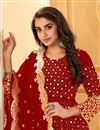 photo of Georgette Fabric Party Style Embroidered Anarkali Salwar Kameez In Red Color
