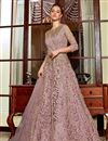 image of Net Fabric Pink Color Function Wear Embroidered Anarkali Dress