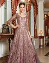 image of Function Wear Net Fabric Pink Color Embroidered Anarkali Suit