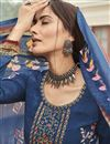photo of Crepe Fabric Navy Blue Color Embroidery Work Salwar Kameez