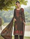 image of Crepe Fabric Occasion Wear Brown Color Embroidery Work Salwar Kameez