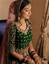 photo of Velvet Fabric Green Color Festive Wear Floor Touch Anarkali Salwar Kameez