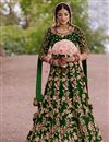 image of Velvet Fabric Green Color Festive Wear Floor Touch Anarkali Salwar Kameez