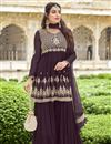 image of Function Wear Wine Color Trendy Embroidered Sharara Georgette Fabric Dress
