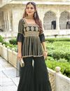 image of Function Wear Green Color Embroidered Trendy Sharara Suit In Georgette Fabric