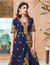 photo of Riveting Blue Color Silk Fabric Designer Party Wear Anarkali Suit With Embroidery Work