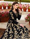 photo of Attractively Embroidered Designer Anarkali Suit In Black Color Georgette Fabric