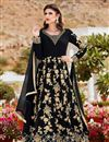 image of Attractively Embroidered Designer Anarkali Suit In Black Color Georgette Fabric