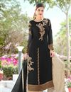 image of Festive Special Embroidery Work Black Party Wear Palazzo Suit In Georgette Fabric
