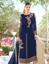 image of Georgette Designer Palazzo Salwar Suit In Blue With Embroidery
