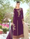 image of Festive Special Magenta Color Georgette Fabric Function Wear Embroidered Palazzo Salwar Kameez