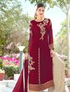 image of Maroon Embroidery Work Occasion Wear Palazzo Dress