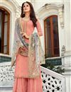 image of Peach Color Sangeet Function Wear Embroidered Georgette Fabric Palazzo Dress